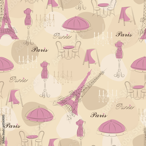 Stylish seamless pattern with eiffel tower , cafe and mannequin