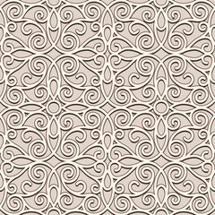 Ornamental beige background, seamless pattern