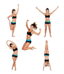 Sequence athlete woman doing fitness