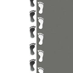 White Feetprint Track Black White Background