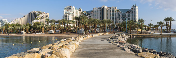 Central beach of Eilat - famous resort Israeli city