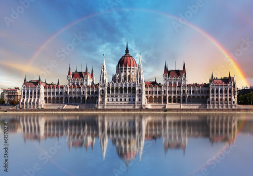 Poster Budapest - Parliament.with reflection in Danube