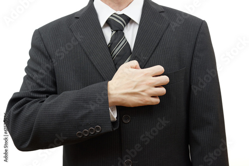 nervous businessman filing fingernails on his suit