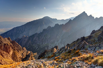 Sunset in mountains in High Tatras, Slovakia