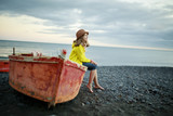 Beach, boat and girl -  lovely girl on the beach