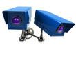 Two blue surveillance camera