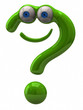 Illustration of happy green question mark