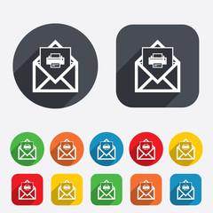 Mail print icon. Envelope symbol. Message sign.
