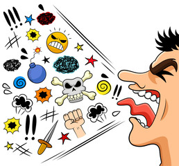 cartoon man shouting curses