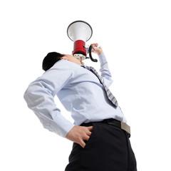 man shouting megaphone