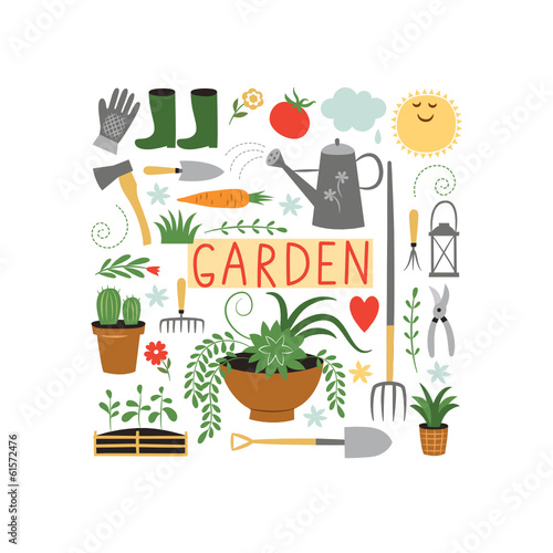 garden objects, design elements