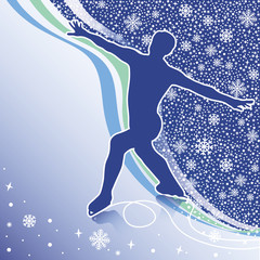 Man figure skates.Design template with snowflakes and lines  bac