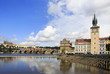 Charles Bridge and Old water tower in Prague.
