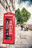 Iconic red telephone boxes in the streets of London