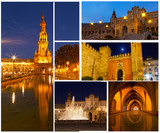 Set of photos with views of night Seville, Spain