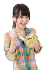 woman eat salad