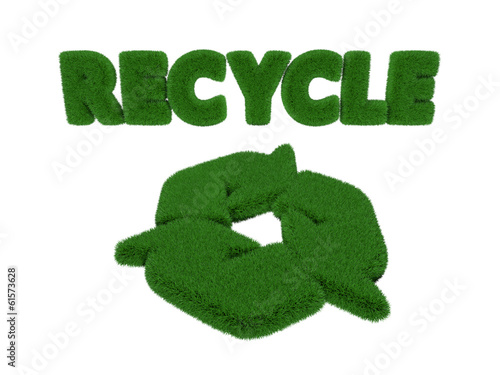 Grass Recycle word and Symbol isolated on white background