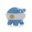 Piggy bank with flag coating over it - Argentina