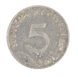 German 5 coin. Front view.
