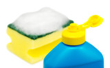 Bottle of a dishwashing liquid and sponge covered with foam