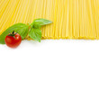 Italian cooking - spaghetti with tomatoes and basil - isolated
