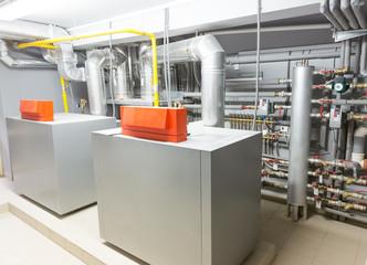 Boiler-house indoor shot. Heating system