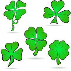 Four leaf clover, shamrock set isolated on white