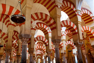 The Great Mosque and Cathedral Mezquita famous interior in Cordo