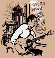 Guitarist in a street