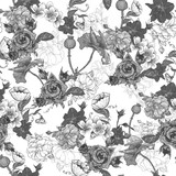 Monochrome Background with Flowers