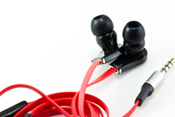 the earphone on white background