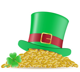 hat clover and coins St. Patrick`s day vector illustration