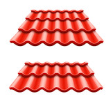 Red corrugated tile element of roof. Eps10 vector
