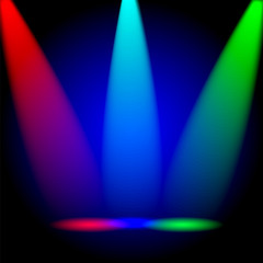 bright colorful rays of light on a black background.vector