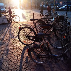 bikes parked at the city road