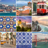 Portugese travel collage - The most famous places in  Portugal,