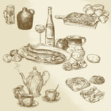 collection of food - hand drawn illustration