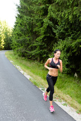 Athlete woman training for marathon run