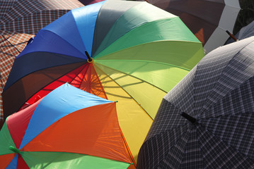 series of many umbrellas for sale from local market