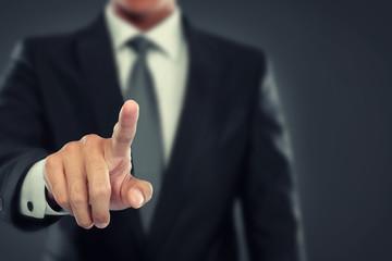 Businessman push to virtual screen