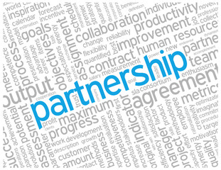 """PARTNERSHIP"" Tag Cloud (team management contract project ideas)"