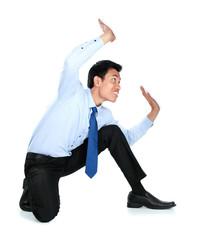 Portrait of businessman posing for conceptual photo