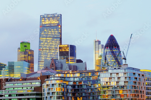 canvas print picture London skyscrapers at night, Britain, UK