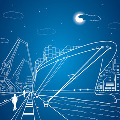 Vector lines cargo ship, ship on the water, port, ship loading