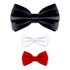 Bow tie in black, red, white