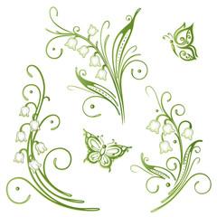 Maiglöckchen, Frühling, Blumen, vector set