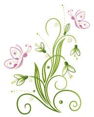 Schneeglöckchen, Frühling, Blumen, Schmetterlinge