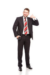 businessman showing call sign © All king of people
