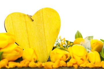 Gelbe Frühlingsdekoration