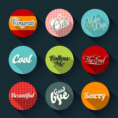 Set of retro cards and vector labels with logos